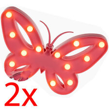 2 X 14 LED Butterfly Light Party Decor Lamp Bedroom Gift 26cm Battery Operated