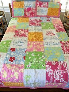 "Pottery Barn Pink Patchwork ""Aloha"" Twin Quilt & 2 Shams, Tropical, Hawaiian EUC"