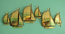 Mid Century Modern Brass Sailboat Wall Art Hanging Sculpture Jere style