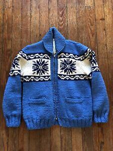 Vintage 1950s Snowflake Cowichan Cardigan Knit Sweater Jacket S/M Blue
