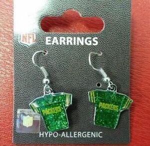 NFL Green Bay Packers Silver Glitter Jersey Dangle Earrings