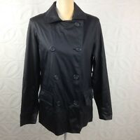 Women's GIACCA Black Waterproof Double Breasted Button Up Rain Jacket Size Large