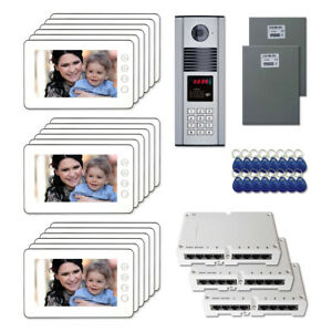 "Building Unit Door Security Panel Video Intercom Kit with (18) 7"" Color Monitor"