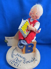 """1991 Annalee Doll Society 7"""" ABC Block Mother Goose Book Logo Kid  MADE in USA"""