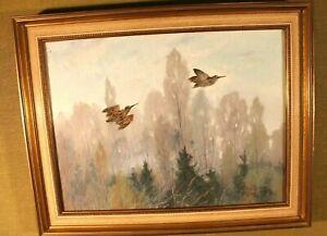 """Carl Deiker (1879 -Düsseldorf - 1958) """"Fliegende Schnepfen""""  Aquarell ,39 x49cm"""