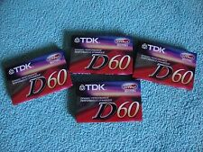 Lot of 4 sealed TDK D60 High Output IECI/TYPEI Blank Audio Cassettes NEW!
