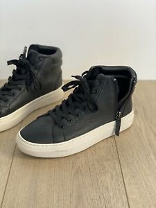 Trent Nathan Blake Leather Sneaker Boots 37 AU 6.5 Black Worn Once