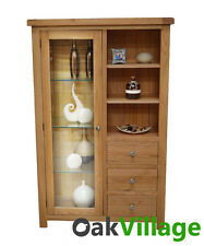 Oak Glass Display Unit / Glazed Display Cabinet / Living & Dining / New Wellow