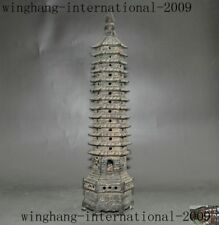 """11"""" old Chinese Buddhism temple bronze wenchang Tower stupa Buddha pagoda statue"""