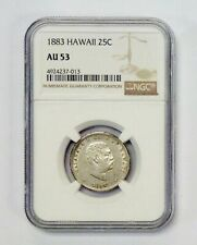 1883 HAWAII 25 Cent NGC graded AU 53