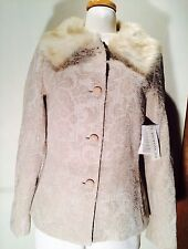 Pursuits Ltd. Ivory/Tan Size 6 Faux Fur Collared Jacket NWT Style P701011
