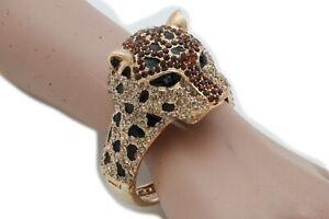 Women Stylish Fashion Jewelry Gold Metal Cuff Bracelet Bling Leopard Tiger Head