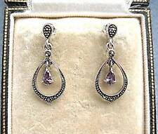 Lovely Deco Inspired Marcasite Silver & Amethyst CZ Drop Earrings