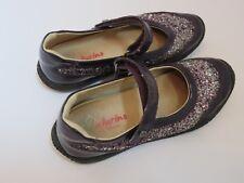 Naturino Girls mary Janes Purple Patent leather Glitter 32 EUC