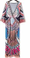 Stunning Bright BOHO Print Kaftan Resort Style Deep V Summer Print Dress 14-16