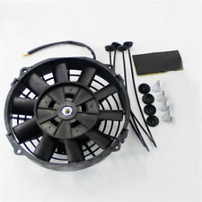 "7"" Inch PULL PUSH CURVED BLADE RADIATOR ELECTRIC THERMO COOLING FAN+MOUNTING KIT"