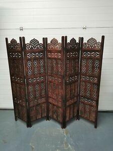 VidaXL.com Hand Carved 5 Panel Room Divider Brown 200x165cm RPR £199
