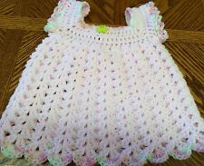 Acrylic Handmade Crochet - Summer Dress, Pink - 6 weeks to 3 months