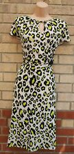 G21 CREAM LIME GREEN ANIMAL PRINT CUT OUT NECK SHORT SLEEVE BODYCON DRESS 18