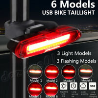 COB LED Bicycle Bike Cycling Front Rear Tail Light USB Rechargeable 6 Modes Red