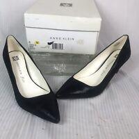 Women's Anne Klein Barb iFlex Black Leather Pumps 21/2 Heel Size 8M