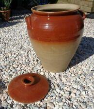 More details for rare large glazed dough riser pot & lid & handles/garden planter? 15.5