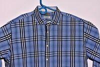 Thomas Dean Mens Size 2XL Dress Shirt Dark Blue Plaid Long Sleeve Flip Cuff