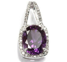 1.92 ct tw Natural Amethyst & Diamond Solid 14k White Gold Halo Drop Pendant