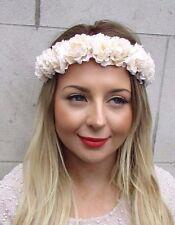 Crème Fleur Rose Bandeau Guirlande De Fleurs Festival Cheveux Couronne