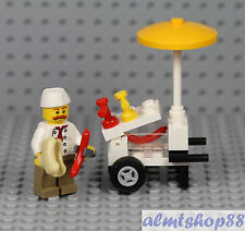 LEGO - Hot Dog Stand Vendor Minifigure - Cart Man City Town Male Female