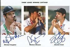 Hand Signed 8x12 photo VAUGHAN STRAUSS COOK - ENGLAND ASHES CRICKET + my COA