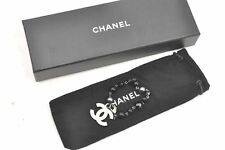 Auth CHANEL Bracelet CC Logo Black Silver Plated Box 60738