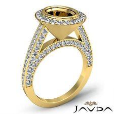 Halo Bezel Set Oval Diamond Engagement Ring 14k Yellow Gold 1.7 Carat Semi Mount
