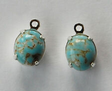 VINTAGE 2 TURQUOISE MATRIX GLASS OVAL PENDANT BEADS • 10x8mm • SILVER PLATED