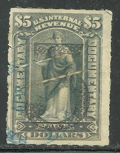 U.S. Revenue Documentary stamp scott r192 - $5.00 issue - ornamental #' - 3x