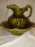 Vintage McCoy USA Pottery Mini Pitcher with Wash Bowl Basin Set. Olive Green.