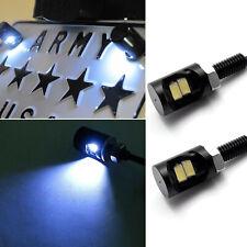 White 2-SMD Bolt-On LED License Plate Light Screw Rear Bulbs for Kawasaki Suzuki