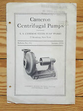 Cameron Centrifugal Pumps, 1914 Steam Pump Works, catalogue manufacturing diagra