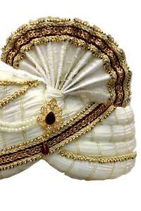 MPG7010 Ivory and Gold Indian Turban, Wedding Pagri, Safa, Bollywood Hat