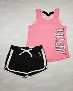 JUSTICE Shirt & Shorts 2 Piece Logo Set Girl's Size 10 NWT