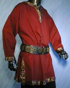 Long Sleeve Medieval Tunic (black, red, green) - 1450
