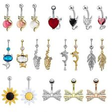 Beauty Navel Belly Button Ring Bar Crystal Flower Dangle Piercing Jewelry 14g