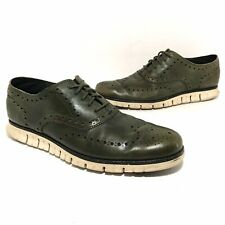 Cole Haan Zerogrand Mens Leather Wingtip Oxford Shoes Size 11 M Dark Green