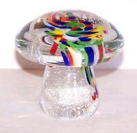 """MURANO ITALY ART GLASS MUSHROOM AVENTURINE SPATTER 3 1/2"""" SCULPTURE/PAPERWEIGHT"""