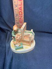 """Vintage Sebastian Miniatures Handcast & Hand Painted """"Weaver and Loom�"""