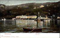 Bregenz Vorarlberg Österreich ~1900 See Partie mit Schiff an den Kasernen color