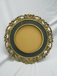 Antique NB & LW Ornate Round Cast Iron Picture Frame