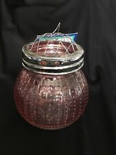 "Farmhouse GLASS VASE with GRID frog top ~ 4"" tall ~ PINK"