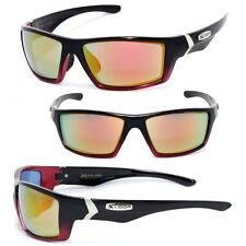 Mens Sport Biker Motocycle Sunglasses - Trans. Red Frame / Fire Lens - X47