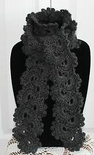 Beautiful Charcoal Gray Queen Anne's Lace Handmade Crochet Scarf